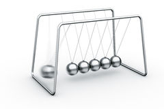 Newtons cradle. 3d rendering of a Newtons cradle with one ball about to impact Stock Photo