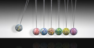 Newtons cradle. Illustration of a Newton's cradle with euro bill textures on the balls Royalty Free Stock Photo