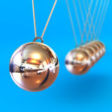 Newtons Cradle against a Blue Background. A Colourful 3d Rendered Newtons Cradle Illustration against a Blue Background Royalty Free Stock Photos