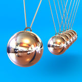 Newtons Cradle against a Blue Background. A Colourful 3d Rendered Newtons Cradle Illustration against a Blue Background Royalty Free Stock Images