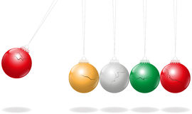 Newtons Cradle Christmas Balls Stock Photos