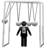 Newtons Cradle Cradles Symbol Busines Man Head Stock Image