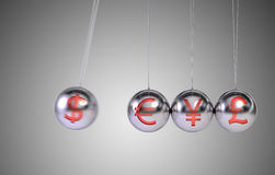 Newtons Cradle. Financial concept. 3D render Stock Images