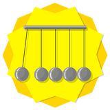 Newtons cradle. Illustration on yellow background Stock Images