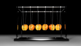 Newtons Apple Cradle. Newtons Cradle made with apples Royalty Free Stock Photo