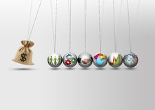 Newtons cradle - money bag Stock Photos