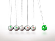 Newtons Cradle Pendulum Containing The Word Think Stock Photography