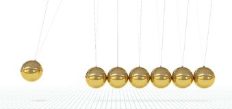 Newtons Wiege - sieben metallisch, goldenes Pendel 3D stockfotos