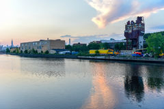 Newtown Creek. Between Greenpoint, Brooklyn and Maspeth, Queens in New York City Royalty Free Stock Images