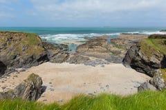Newtrain zatoka Północny Cornwall na Południowej zachodnie wybrzeże ścieżce i blisko Padstow i Newquay Zdjęcia Royalty Free