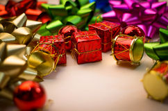 Newyear with bow and present Royalty Free Stock Photo
