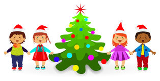 NewYear  child  fir-tree Royalty Free Stock Photography