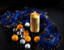 Newyear decorations. Some new year decorations on black background Royalty Free Stock Image