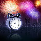 Newyear fireworks. Jumping alarm clock at midnight of new year eve with fireworks vector illustration