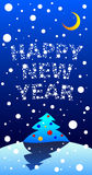 Newyear nightscene. Vector illustration of a newyear nightscene with falling snow Stock Photography