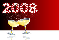 NewYear Red. Illustration with two glasses of champagne in a new year celebration Stock Photos