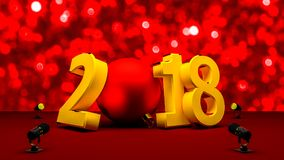 Newyear 2018 with a red christmas ball. Card beautiful 3D render Royalty Free Stock Image