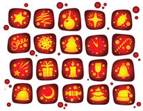 Newyear red icons set Stock Image