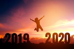 2020 Newyear Silhouette young woman jumping to Happy new year concept royalty free illustration