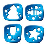 Newyear three-dimensional icons Stock Image