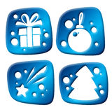 Newyear three-dimensional icons Stock Images