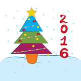 2016 newyear tree. Christmas celebration everytime in winter vector illustration