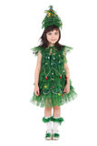 Newyear tree girl. Pretty little girl in the costume of the newyear tree stock images