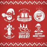 New year craft beer badges and stickes. royalty free stock photos