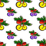 NewYearPattern4. Pattern made from hand drawn xmas baubles. Vector illustration Stock Photography
