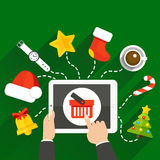 NewYearTableGifts. Vector illustration of choosing a Christmas or New Year gift online store with a tablet Stock Image