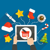 NewYearTableGiftsBlue. Vector illustration of choosing a Christmas or New Year gift online store with a tablet Stock Photos