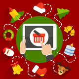 NewYearTabletRedBG01. Vector illustration of choosing a Christmas or New Year gift online store with a tablet Stock Image