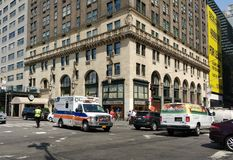 NewYork–Presbyterian Hospital Ambulance, NYPD Traffic Officer, New York City, NYC, NY, USA Stock Photo