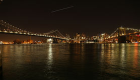 NewYork地平线布鲁克林大桥 免版税图库摄影