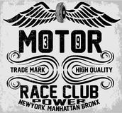 Newyork曼哈顿布朗克斯摩托车印刷术, T恤杉图表, 库存照片