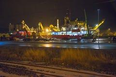 Nexans鲱鱼,被停泊对码头 免版税库存图片