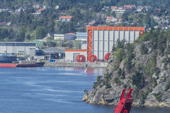 Nexans cable factory, images shot from Fredriksten fortress stock photo