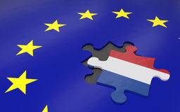 Nexit and EU. 3d illustration Nexit the removed piece in a puzzle EU Royalty Free Stock Photography