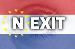 Nexit eye looks through the Netherlands flag Stock Photos