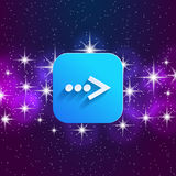 Next arrow icon. Forward sign. Right direction symbol. Square icon and star sky. Royalty Free Stock Image