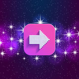 Next arrow icon. Forward sign. Right direction symbol. Square icon and star sky. Stock Photos