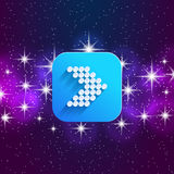 Next arrow icon. Forward sign. Right direction symbol. Square icon and star sky. Stock Image
