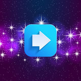 Next arrow icon. Forward sign. Right direction symbol. Square icon and star sky. Royalty Free Stock Photography
