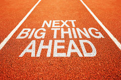 Next big thing ahead. On athletics all weather running track stock image