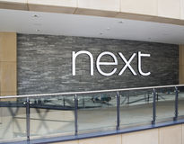Next clothing shop logo by next shop. Picture of the next shop in leeds July 2016 royalty free stock photos