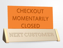 Next customer / checkout closed sign Royalty Free Stock Image