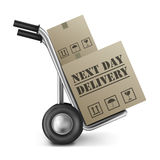 Next day delivery hand truck. Next day delivery cardboard box hand truck shipping online shopping order isolated on white background brown package sending from vector illustration