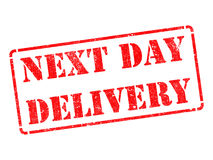 Next Day Delivery on Red Rubber Stamp. Royalty Free Stock Image