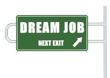 Next exit dream job. A 3D rendered artwork with white background stock illustration