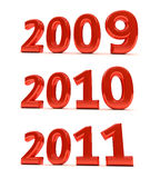 The next few years. The years 2009, 2010, 2011 as a 3D render over white background Royalty Free Illustration